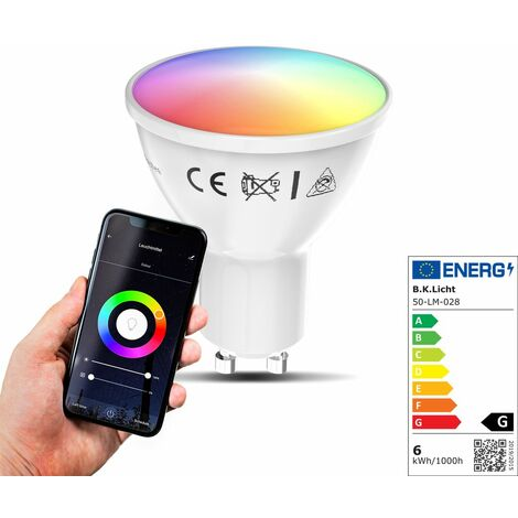 Ampoule LED connecté WiFi RVB+CCT GU10 dimmable compatible Alexa Google Home 5,5W