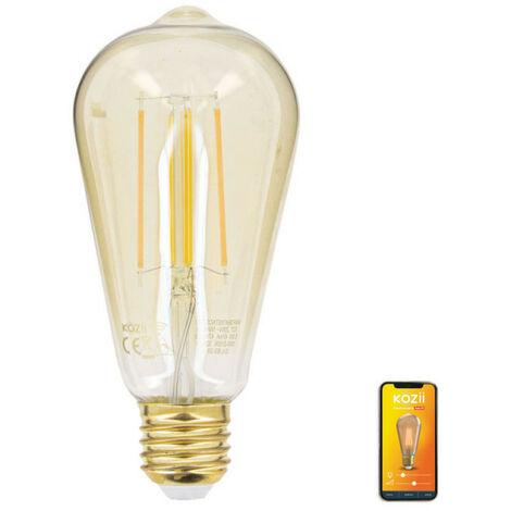 Ampoule LED connectée Filament E27 ST64 Transparent 5,5W cons. Variation de luminosité   Xanlite