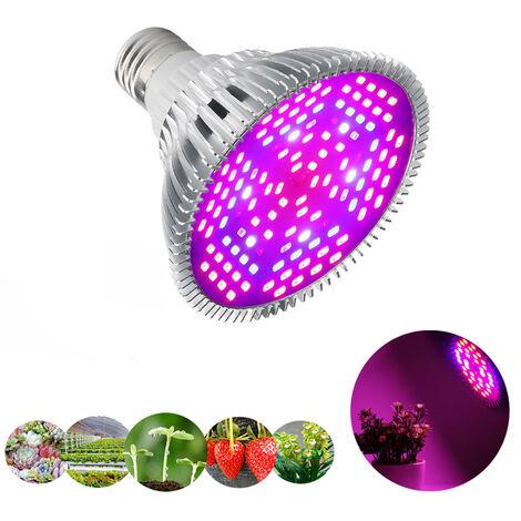 Ampoule LED de Croissance à Spectre Complet 120 LEDs Lampe HorticoleLampe pour Plante pour Plantes, Sunlike Plante D'intérieur élèvent des Fleurs de Ampoules de Lumières pour Serre Jardin (80W, 120 LED)
