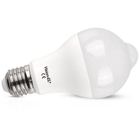 Ampoule LED E27 12W Bulb + Détecteur de mouvement crépusculaire IR