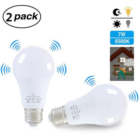 Ampoule Led E27, Avec Detecteur De Mouvement, 7W, Blanche, 2Pcs