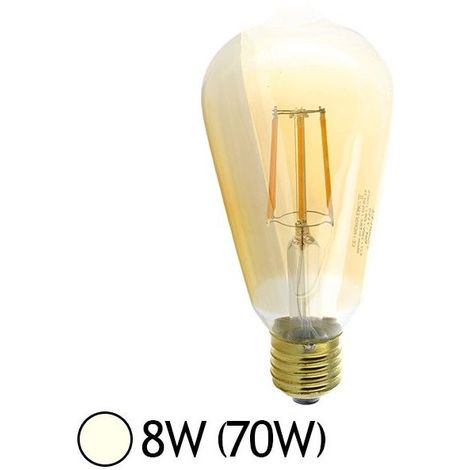 Ampoule LED E27 Edison Golden ST64 8W COB Filament