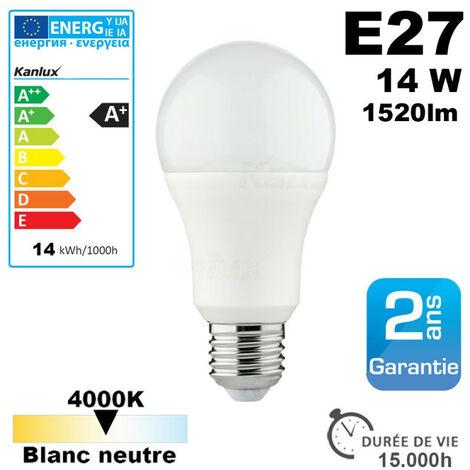 Ampoule LED E27 équivalent 100W 1520lm Blanc Neutre 15,000h 4000K - Blanc Neutre