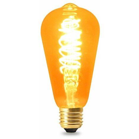 Ampoule LED Filament Spirale E27 ST64 4W Ambre Blanc Chaud 2300K   IluminaShop
