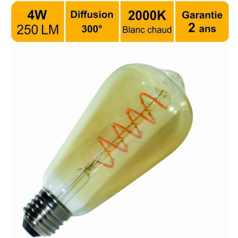 Ampoule LED filament vintageST64E27 4W (equiv. 25W) 250Lm 2000K