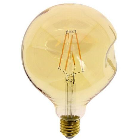 Ampoule LED Globe (G125) Irrégulière au verre ambré, culot E27, 6W cons. (60W eq.), 806 lumens, lumière blanc chaud | Xanlite