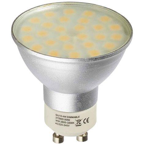 Ampoule LED GU10 Dimmable à 27 SMD5050 4W 280Lm (équiv 31W) Blanc Chaud 120 degré HIPOW