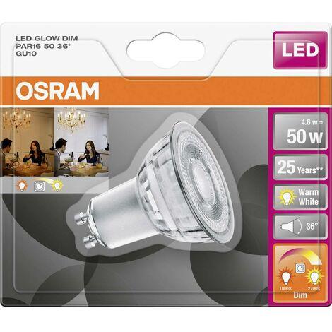 Ampoule LED GU10 OSRAM 4058075105393 4.6 W = 50 W blanc chaud (Ø x L) 50 mm x 54 mm 1 pc(s)