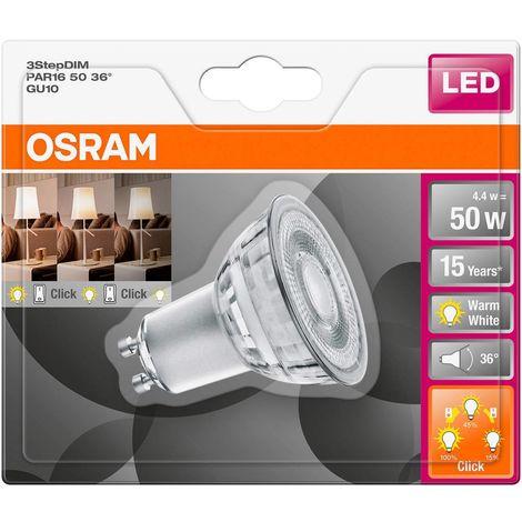 Ampoule LED GU10 OSRAM LED THREE STEP DIM PAR16 50 36° 4.4 W/2700K GU10 4058075264250 5 W blanc chaud (Ø x L) 50.0 mm x 54.0 mm 1 pc(s)