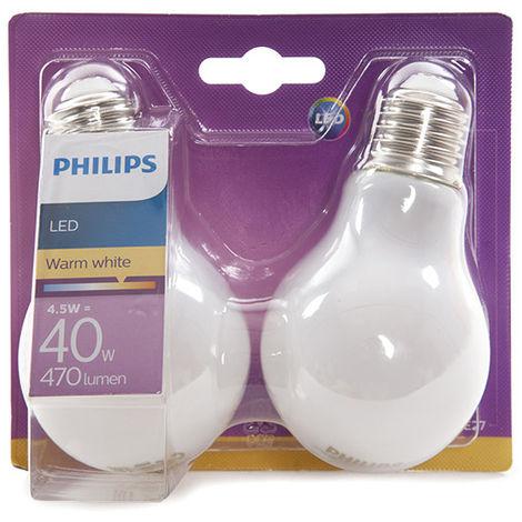 Ampoule LED Philips E27 A60 4,5W 470Lm Blanc Chaud (2 Pièces)   Blanc chaud (PH-8718696422328-WW)