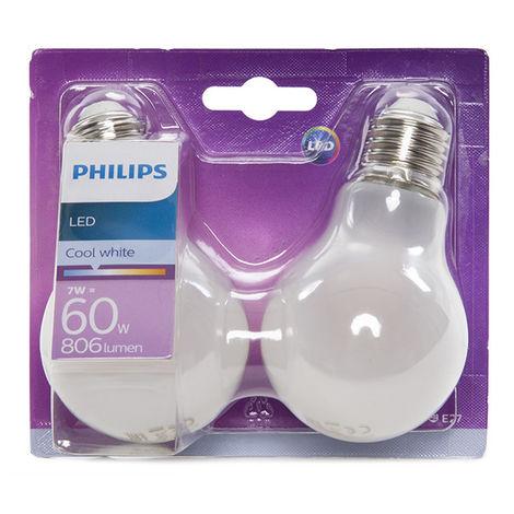 Ampoule LED Philips E27 A60 7W 806Lm Blanc Neutre (2 Pièces) | Blanc Neutre (PH-8718696740569-W)