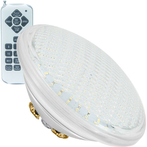 Ampoule LED Piscine Submersible PAR56 RGB IP68 12V 18W RGB avec télécommande - RGB avec télécommande