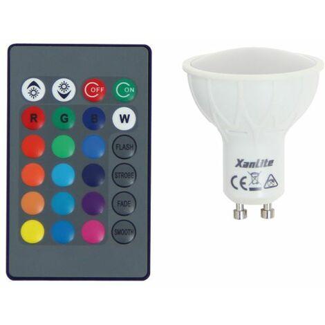 Ampoule LED spot, culot GU10, 4,2W cons. (27W eq.), lumière blanc chaud ou lumière RVB avec sa télécommande | Xanlite