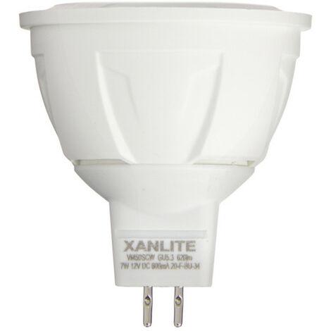 Ampoule LED spot, culot GU5.3, 7W cons. (50W éq.), angle focalisé, lumière blanche chaude | Xanlite