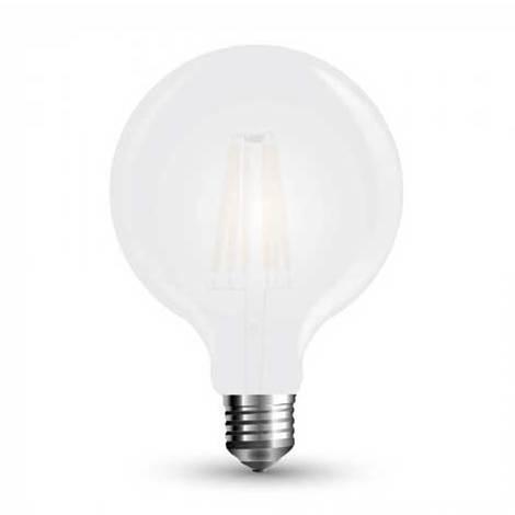 Ampoule LED V-TAC 7W filament Givre Cover E27 G125 300° 750LM A+ Dimmable VT-2067D – SKU 7191 Blanc Chaud 2700K