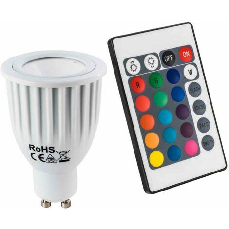 Ampoule multicolore led gu10 avec télécommande