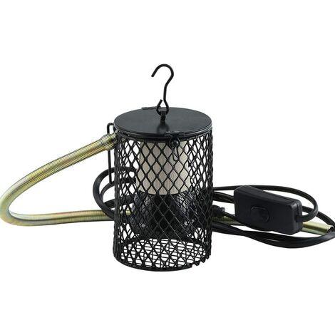Ampoule pour Lampe Chauffante, Lampe Chauffante UVA UVB Douille Ceramique, Lampe Chauffante avec Couvercle Poussin Oiseaux Reptiles Chaton Chiot - EU Prise