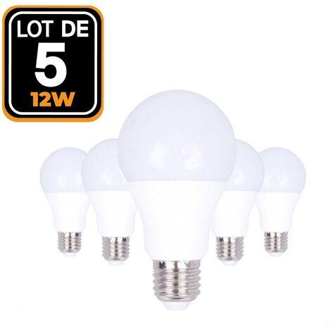 Ampoules LED E27 12W 6000K par Lot de 5 Haute Luminosité