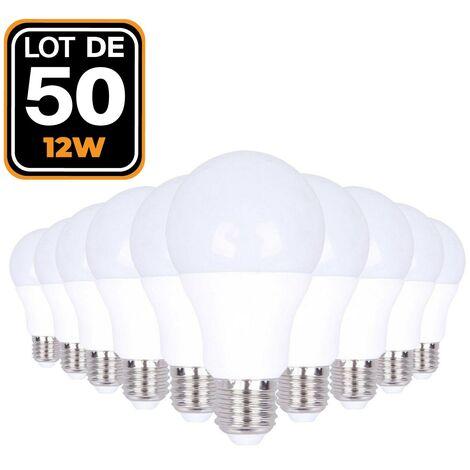 Ampoules LED E27 12W 6000K par Lot de 50 Haute Luminosité