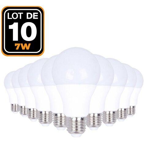 Ampoules LED E27 7W 6000K par Lot de 10 Haute Luminosité