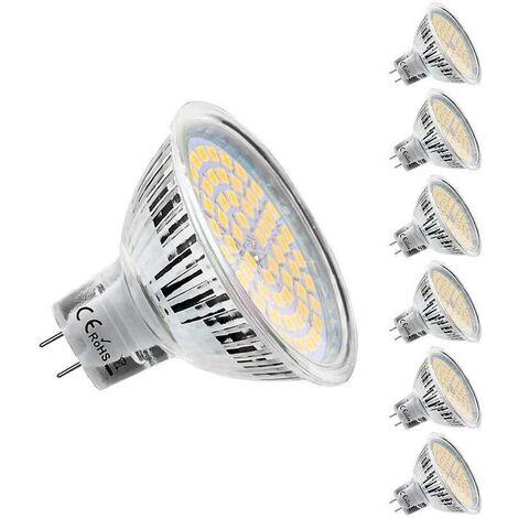"""main image of """"Ampoules LED MR16 GU5.3 12V, Blanc Chaud 2800K, 5W Equivalent à 50W lampe halogène, 450LM, 120° Angle, Ampoules LED Spot Non Dimmable, Lot de 6"""""""