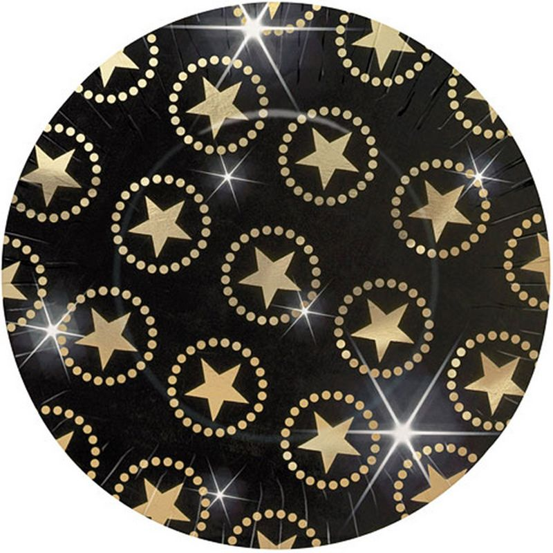 Image of 10.5in Star Attraction Paper Plates (10.5in) (Black/Gold) - Amscan