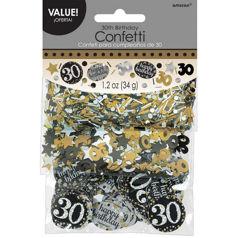 Image of 1.2oz Gold Sparkling 30th Birthday Confetti (1.2oz) (Gold) - Amscan