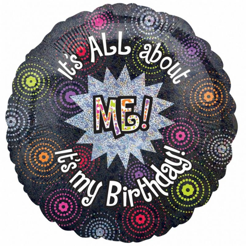 Image of 18 Inch All About Me Circular Foil Birthday Balloon (One Size) (Multicoloured) - Amscan