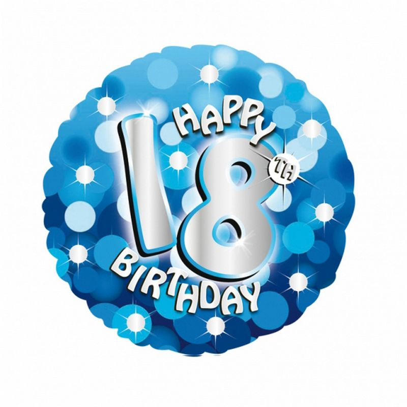 Image of 18 Inch Blue Happy 18th Birthday Circular Foil Balloon (One Size) (Blue) - Amscan
