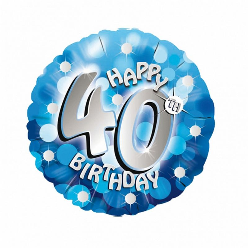 Image of 18 Inch Blue Happy 40th Birthday Circular Foil Balloon (One Size) (Blue) - Amscan