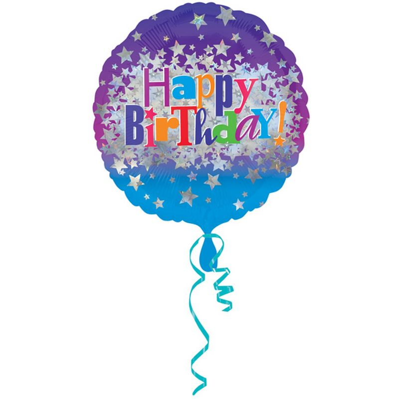 Image of 18 Inch Happy Birthday Bright Stars Circular Foil Balloon (One Size) (Multicoloured) - Amscan