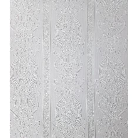 Anaglypta Louisa White Paintable Floral Stripe Wallpaper Vinyl Embossed Textured