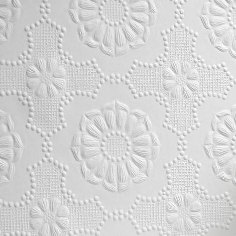Anaglypta Supaglypta Alexander White Paintable Floral Wallpaper Vinyl Textured