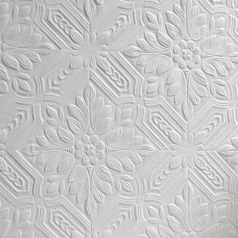 Anaglypta Supaglypta White Paintable Floral Wallpaper Embossed Tough Durable