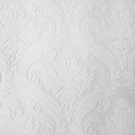 Anaglypta White Paintable Damask Wallpaper Vinyl Wall Ceilings Washable Textured