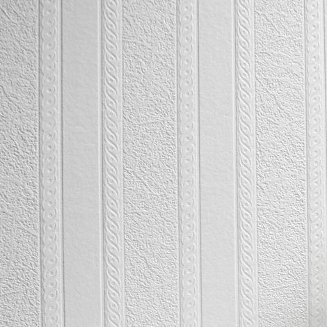 Anaglypta White Paintable Marble Stripe Wallpaper Vinyl Wall Washable Textured