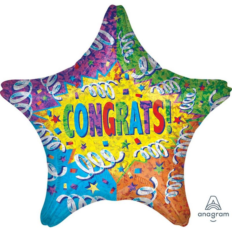 Image of 18 Inch Star Congrats Streamer Explosion Foil Balloon (One Size) (Multicoloured) - Anagram
