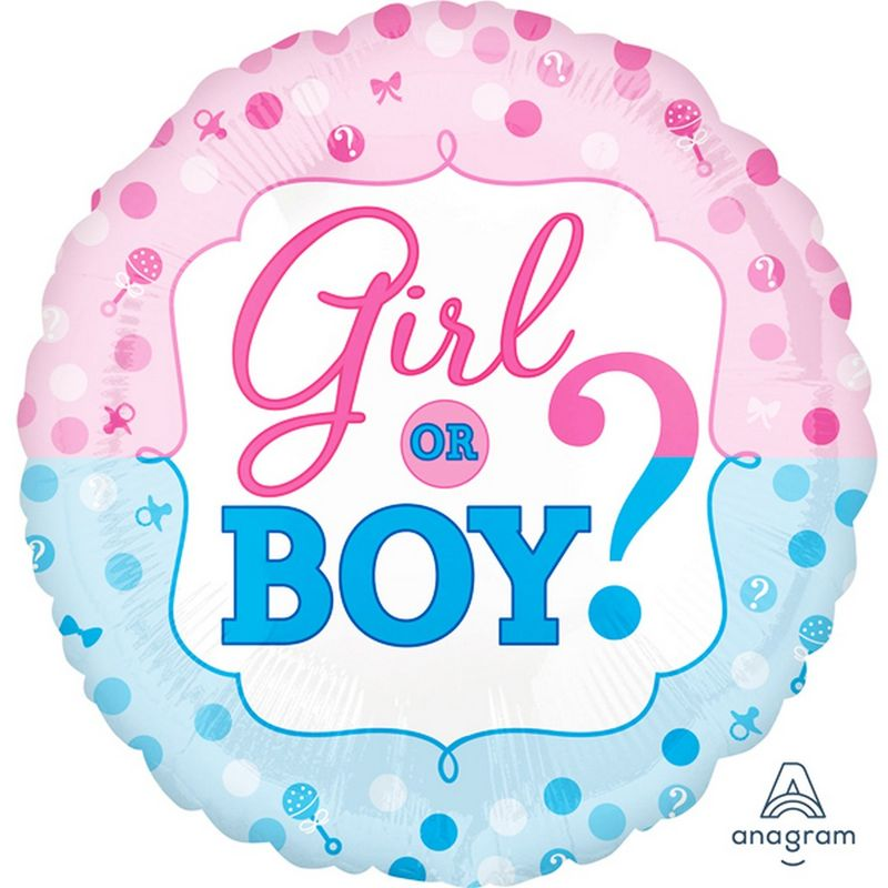 Image of 18in Gender Reveal Foil Balloon (One Size) (Blue/Pink) - Anagram
