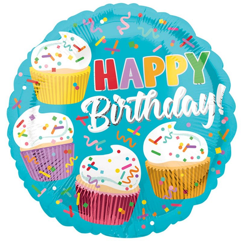 Image of 18in Happy Birthday Cupcake Fun Round Foil Balloon (18in) (Turquoise/Multicoloured) - Anagram