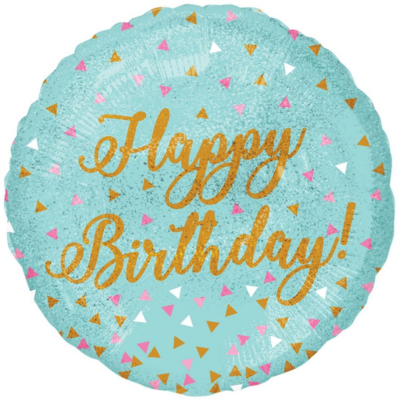 Image of 18in Happy Birthday! Round Holographic Sparkles Foil Balloon (18in) (Turquoise/Gold/Pink) - Anagram