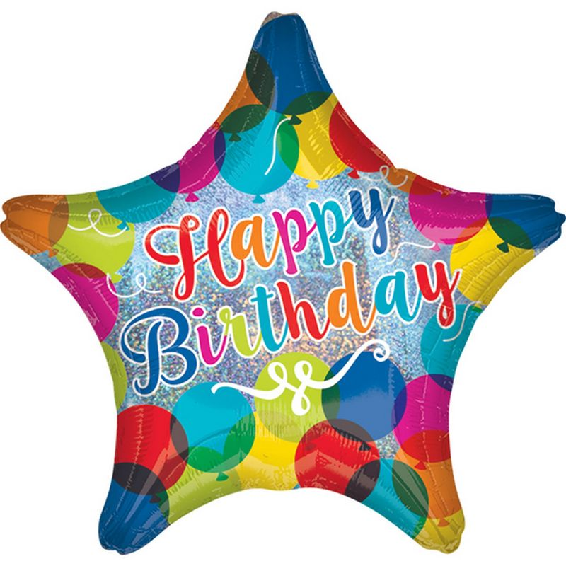 Image of 18in Happy Birthday Sparkle Balloons Star Foil Balloon (18in) (Multicoloured) - Anagram