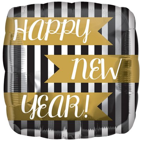 Anagram 18in Happy New Year Vertical Stripes Square Foil Balloon (One Size) (Black/White/Gold)
