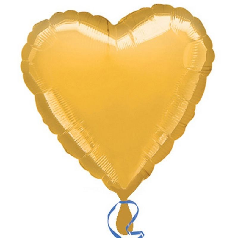 Image of 18in Heart Foil Balloon (Pack Of 10) (18in) (Gold) - Anagram