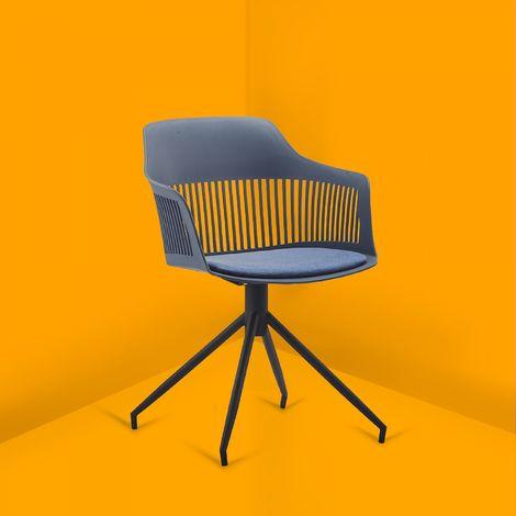 Anaïs - Chaise design avec accoudoirs bleu foncé