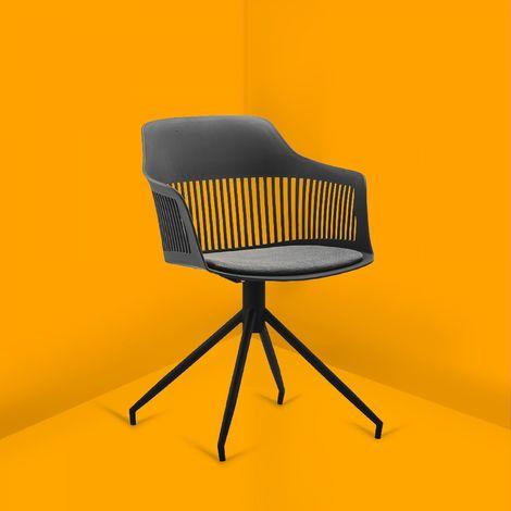 Anaïs - Chaise design avec accoudoirs gris