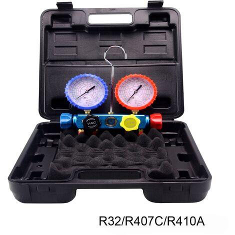 Analizador 4 valvulas analogico manometros diam. 80 R32/R407C/R410A