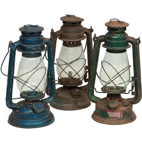 Ancienne lanterne à huile finitions assorties L15xPR15xH32 cm