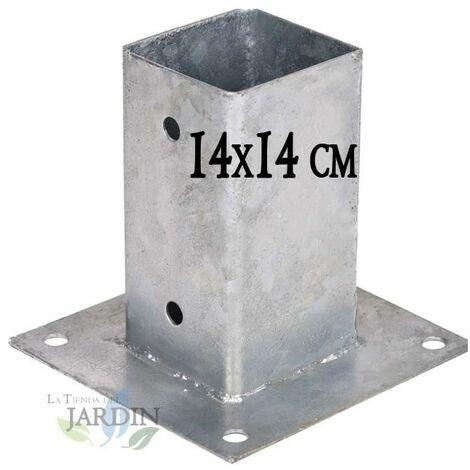 Anclaje cuadrado metálico 14x14 cm, base 14x14 cm. Ideal para postes de madera.