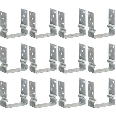 Anclajes de valla 12 uds acero galvanizado plateado 14x6x15 cm