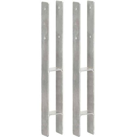 Anclajes de valla 2 uds acero galvanizado plateado 7x6x60 cm